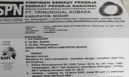 BIPARTIT DEADLOCK, PSP SPN TRINUNGGAL KOMARA LAPOR DISNAKER