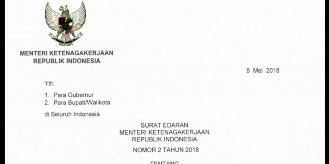 SURAT EDARAN MENAKER TENTANG THR 2018