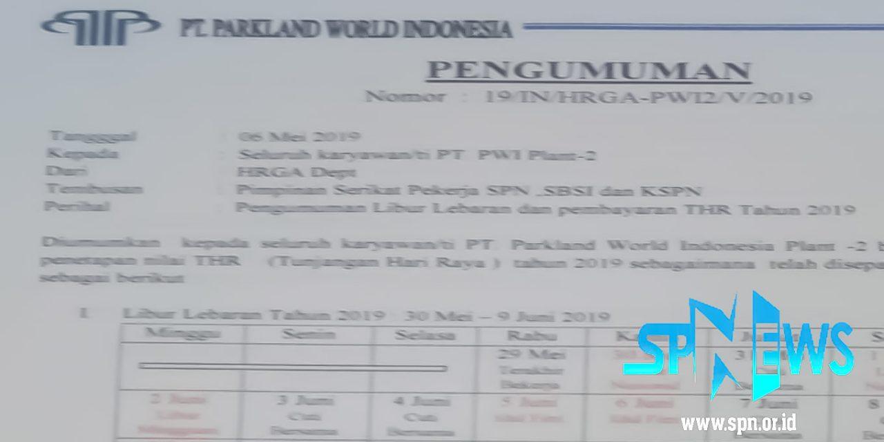 PEMBAYARAN THR TAHUN 2019 PT PARKLAND WORLD INDONESIA 2