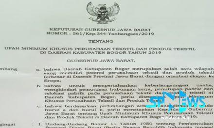 UPAH MINIMUM KHUSUS PERUSAHAAN TEKSTIL DAN PRODUK TEKSTIL KABUPATEN BOGOR 2019